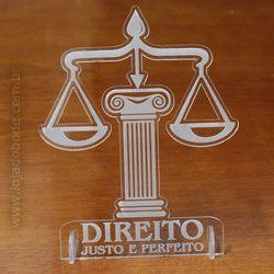 Adorno de Mesa em Acrílico Cristal - Direito (Justo e perfeito)  [pacote com20]