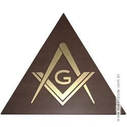 Delta (Triângulo) em madeira com Esquadro e Compasso em dourado