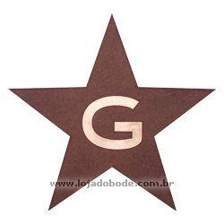 Estrela de 5 Pontas em madeira com G em dourado
