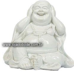 Buddha Feliz - 7cm - Brilhante - Branco ou Preto