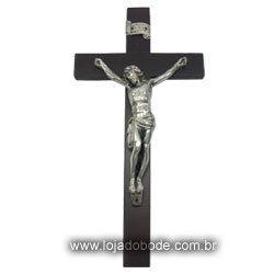 Crucifixo em Madeira Escura e imagem metalizada (Bronze/Dourado/Prateado)