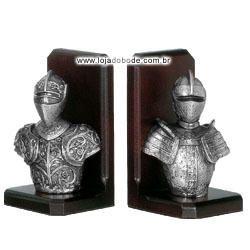Porta Livros - Cavaleiros Medievais - Metalizado Prateado