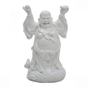 Buda em Pé - cerâmica branca - 16cm