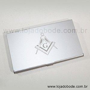 Porta cartões de visita - Aluminio - Esquadro e Compasso