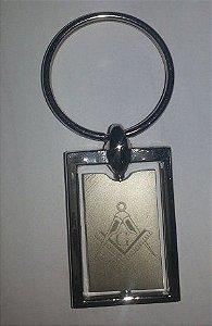 Chaveiro em Metal com Gravação a Laser - Esquadro e Compasso - Retangular