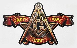 Decoração de Parede Esquadro e Compasso - Faith, Hope and Charity