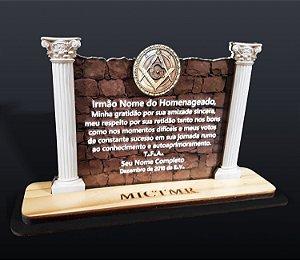 Placa para Homenagem - Muro e Colunas Maçônicas
