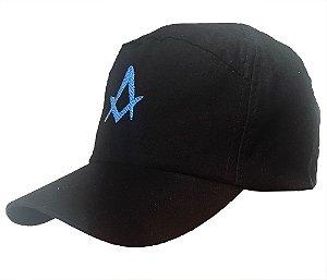 Boné Preto com bordado Esquadro e Compasso Azul