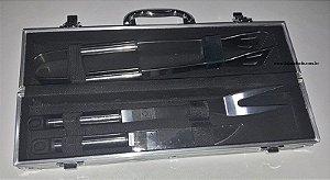 Kit Churrasco 3 peças em Aço Inox com Maleta  - Gravados Esquadro e Compasso