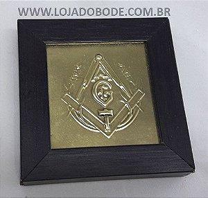 Quadro Esquadro e Compasso 9cm - Madeira e Metal em Relevo