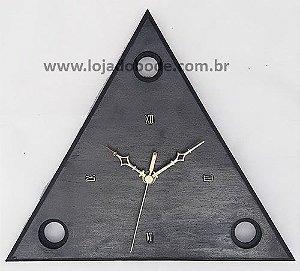 Relógio Triângulo 3 Pontos - Madeira Pintura tipo Aço Escovado