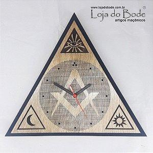 Relógio Triângulo com Esquadro e Compasso, Olho, Sol e Lua - Madeira
