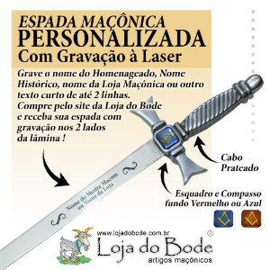 Espada Maçônica Ritualística Reta Prateada - COM GRAVAÇÃO A LASER