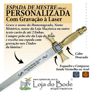 Espada Maçônica de Mestre Curta Dourada - COM GRAVAÇÃO A LASER