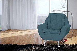 Poltrona Decorativa Glória - Azul turquesa
