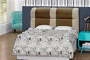 Cabeceira para cama Casal 140 cm Eros - Marrom/Marrom claro