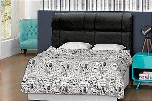 Cabeceira para cama Casal 140 cm Eros - Preto