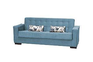 Sofá Cama Dinorá 3 Lugares - Azul c/ almofada floral azul