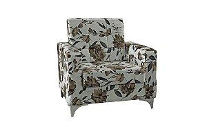 Poltrona Decorativa Taina - Floral marrom