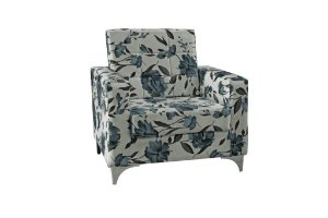 Poltrona Decorativa Taina - Floral azul