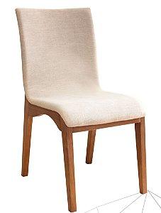 Cadeira Estofada Haifa Madeira Maciça 4 Peças Amendoa-Bege