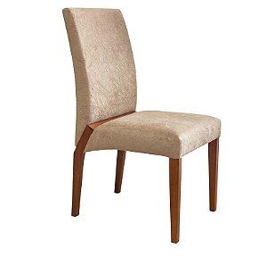 Cadeira Estofada Versa Madeira Maciça 4 Peças Amendoa-Bege