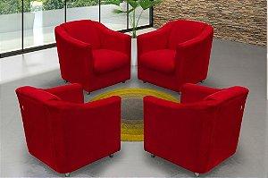 Conjunto com 4 Poltronas Decorativa Bia - Vermelho pena