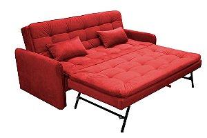 Sofá Cama Reclinável com cama Auxiliar Madalena - Vermelho pena