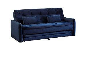 Sofá Cama Reclinável com cama Auxiliar Madalena - Veludo Azul Marinho