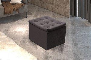 Puff Decorativo quadrado Relax - Veludo Marrom