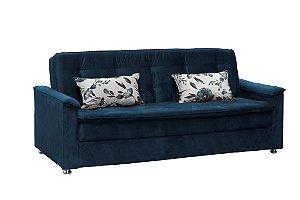 Sofá Cama Casal Retrátil Nanda - Veludo Azul marinho com almofada 422