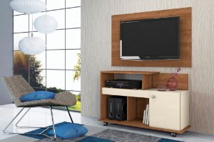 Rack Flash e Painel para TV New Nature / Off White - Mobler