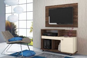Rack Flash e Painel para TV New Madero / Off White - Mobler