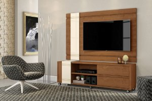 Rack Bancada com Painel para TV Orion Nature / off White - Mobler