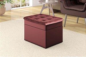 Puff Decorativo quadrado Relax - Veludo Vinho