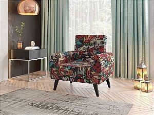 Poltrona Decorativa Pés de Madeira Livia  - Estampado RB