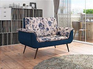 Poltrona Decorativa Pés Palito 2 lugares Monica - Veludo Azul Marinho FL azul