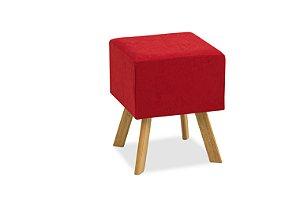 Puff Decorativo quadrado Bruna - Vermelho suede