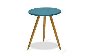 Mesa canto pés palito Leticia - Azul royal suede