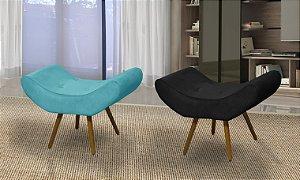 Conjunto com 2 Puff Decorativo pés palito Paris - Azul / Preto