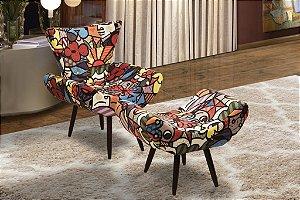 Poltrona Decorativa Pés Palito 1 lugar Gabriela e puff Paris - Estampa 150