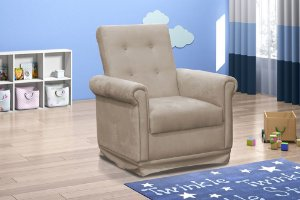Poltrona Decorativa com balanço Baby - Veludo Marrom claro
