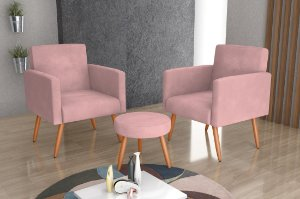 Conjunto 02 Poltronas Decorativas e 1 Puff Dallas - Veludo turkey Rose