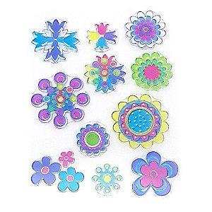 Kit Carimbos em Silicone Flores Diversas 11 Peças