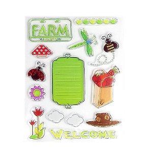Kit Carimbos em Silicone Fazenda Cute 14 Peças