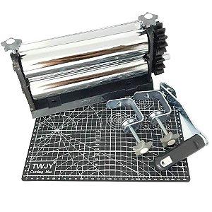 Cilindro para Artesanato Emboss Cutting + Placa Base A4 30 cm x 22 cm