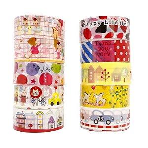 Fita Adesiva Decorativa Washi Tape Estampas Variadas 10 Unidades