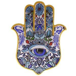 Mão de Fátima em Resina para Decoração Azul e Amarela