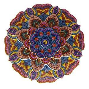 Mandala em Resina para Decoração Azul Rosa e Amarela