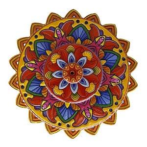 Mandala em Resina para Decoração Amarela Vermelha e Azul